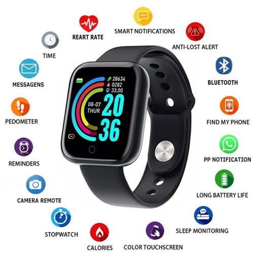 Advanced Version Bluetooth Digital Wrist Sports Smart Watch IP67 Waterproof Bracelet Support Mobile Notification With Mobile App Connectivity Fitness Tracker & BP Monitor Step Counter 1.3 Inch TFT Screen With Digital & Smart Display