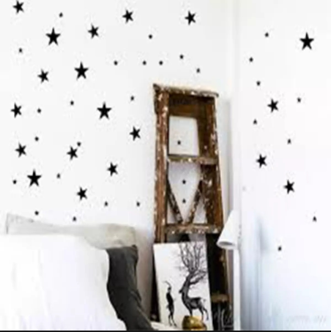 Pack of 100 Stars Stickers Pvc Multi colours Wall Stickers For kids Bedroom Decor wall star white black red yellow