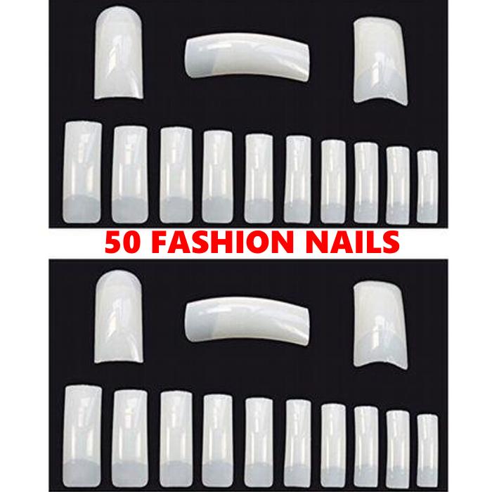50 Pcs Acrylic Nail Tips Nail Art Full Wrap Nail Tips