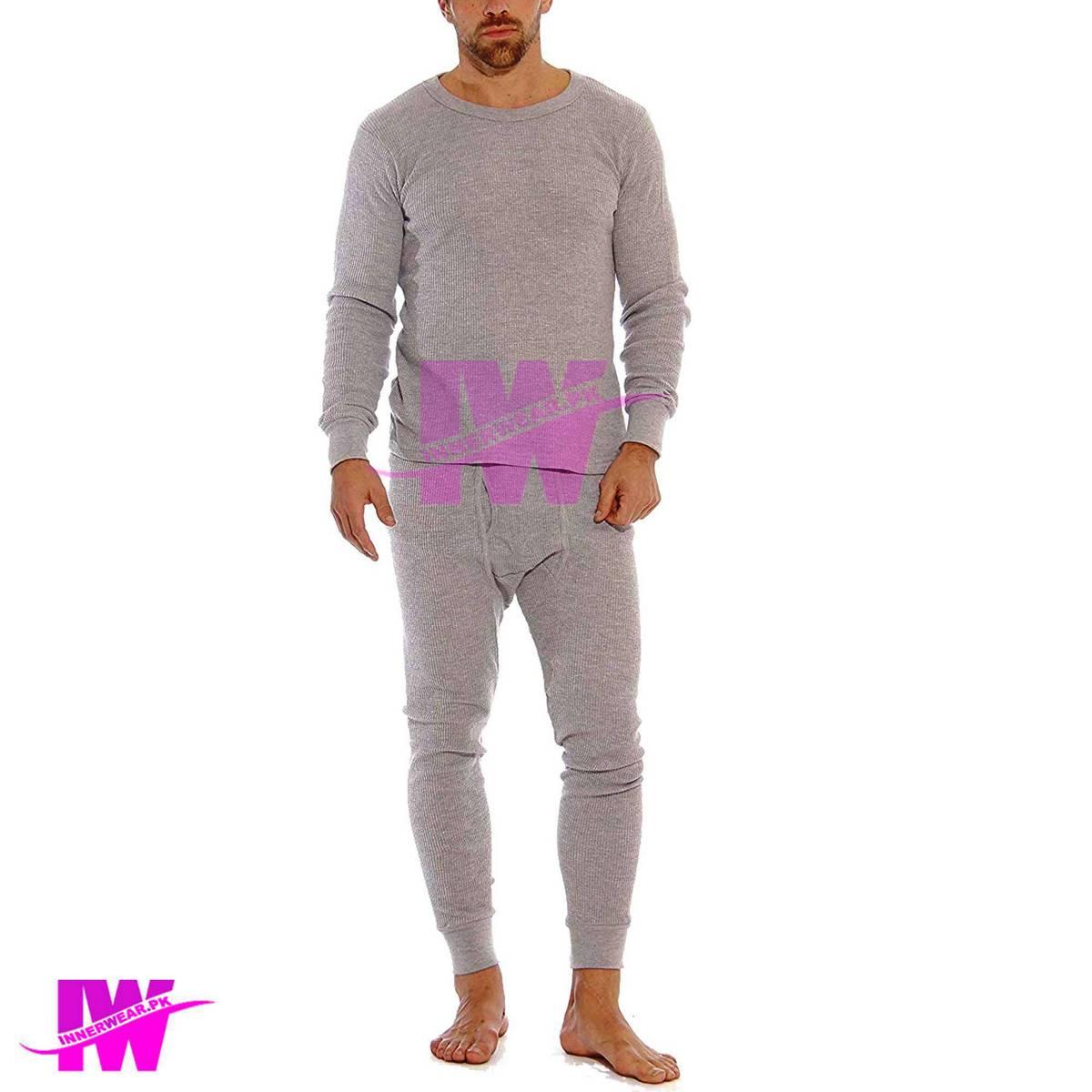 Men Premium Full Body Suit Thermal Body Warmer Skin Tight Stretchable Innerwear Winter Warm Long Johns Trouser Pajama Full Sleeve Shirt Grey