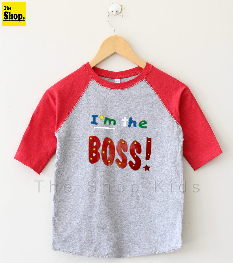 The Shop - I'M BOSS Raglan 3/4 Sleeves T-Shirt For Boys & Girls Kids - BS-RR1