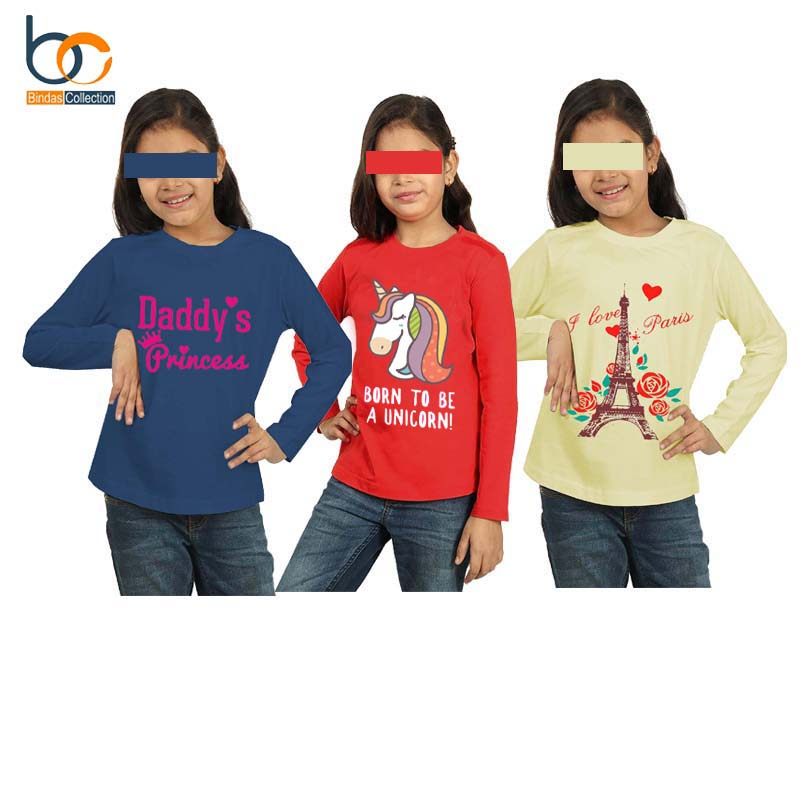 Bindas Collection Pack Of 3 Trendy Printed Full Sleeves cotton jersey T-shirts For Girls