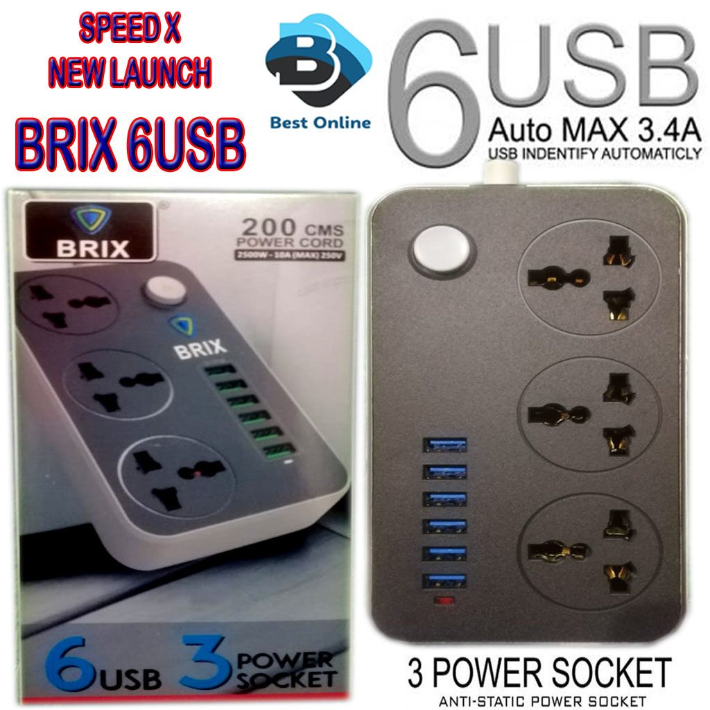 Mobile Extension - Speed X 3 Way High Quality Extension Board With 3 USB Charging Ports and Multple Sockets