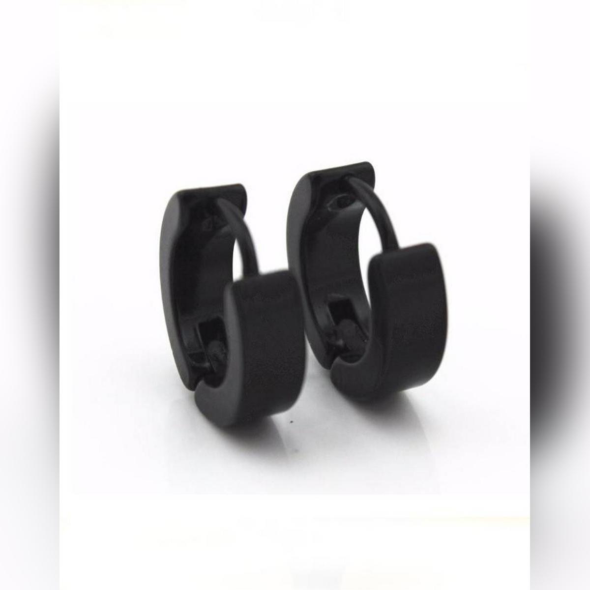 Black Stainless Steel Earrings For Unisex