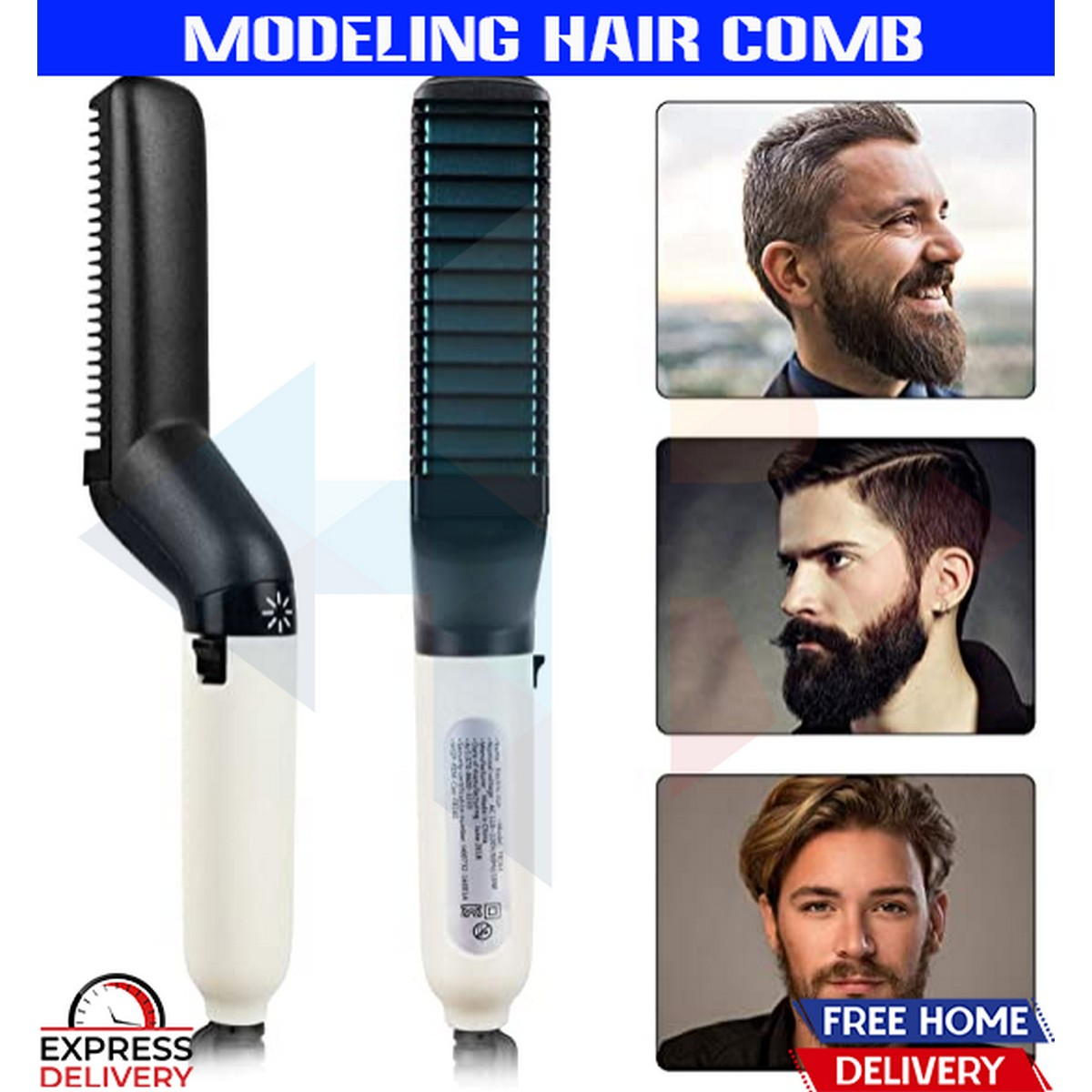 Beard Straightener & Hair Modelling Comb Multifunctional Iron Ionic Modelling Comb Heated Beard Brush for Men & Women Fast Heated Anti-Scald Quick Styling