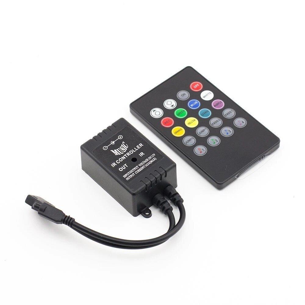 Music controller Audio sound sensitive for LED RGB Strip with 20keys IR  remote for led ribbion DC12v Black