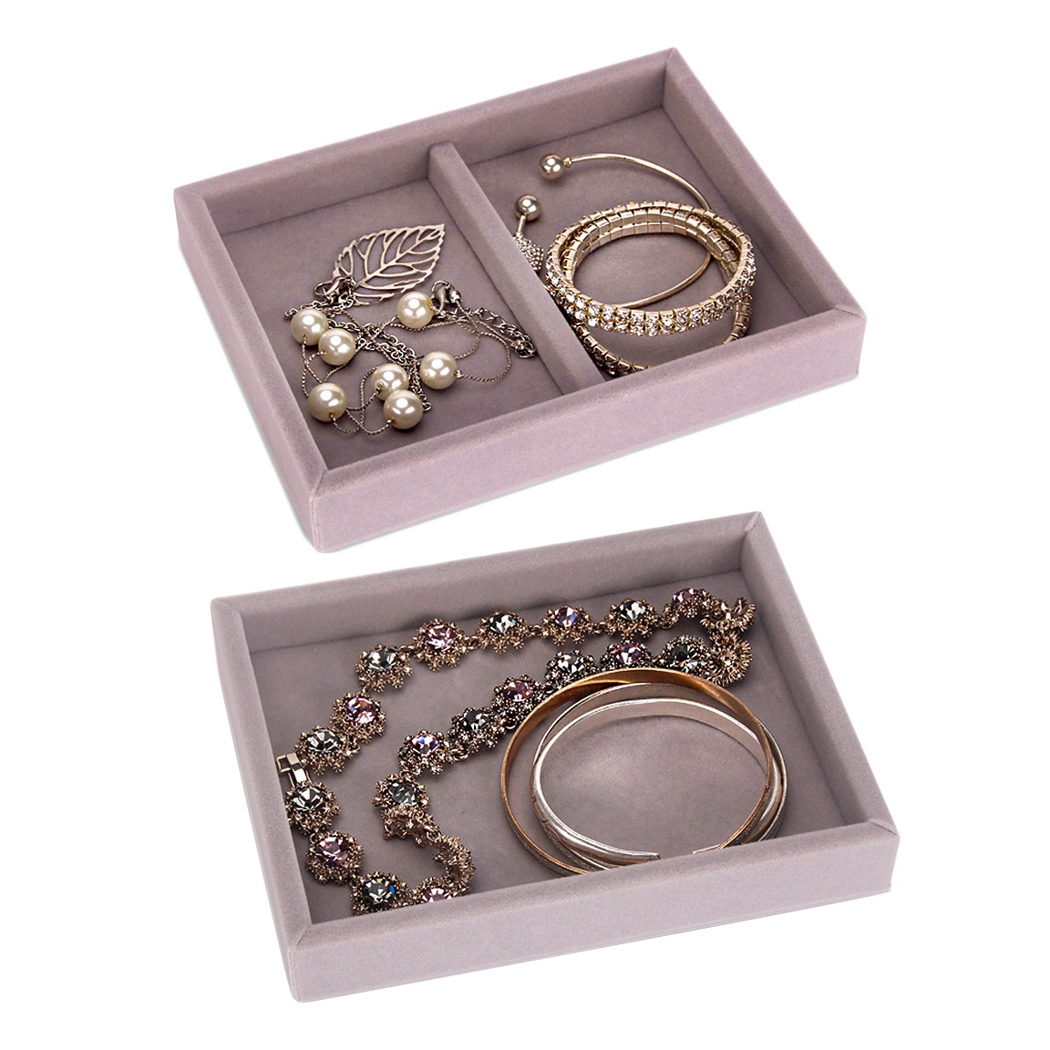 2 Pcs Drawer Diy Rings Bracelets Gift Box Jewelry Storage Tray Jewellery Organizer Earrings Holder Small Size Fit Most Room Space Gray 2 Grid E No 4 Space E No 5 Buy Online