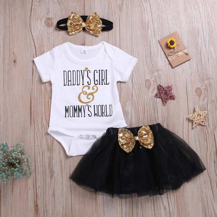 Rainbowroom 2019 Kids Baby Girl Letter Printed Romper Tulle Bow Sequins Skirt Hair Band Outfit