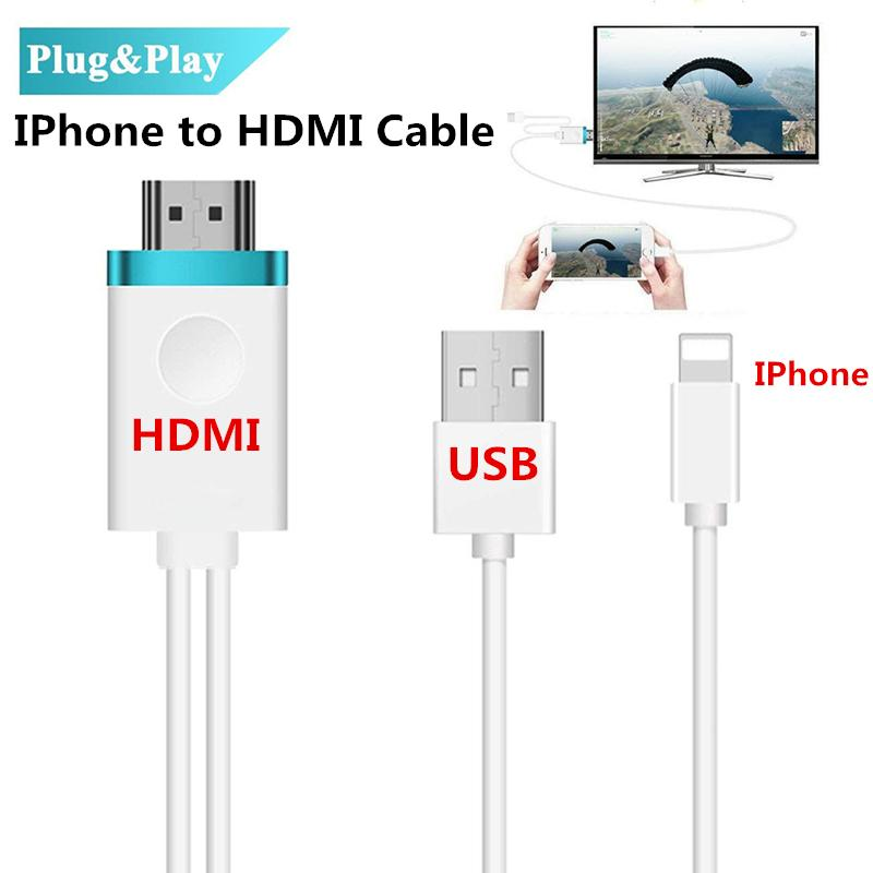new concept 84eac 68ff4 HDMI Cable for IPhone to HDMI Adapter Digital AV to 1080P HDTV Cord  Converter for iPhone X/8/8+/7/7+/6/6+/5S HDMI Connector