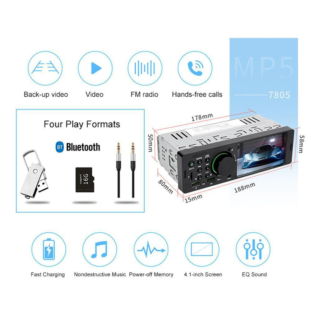 Universal Double Din Bluetooth Car Stereo Video Player, Support FM / USB  Aux Input/ Hand Free/ Fast Charging with Rear Camera & Remote Control