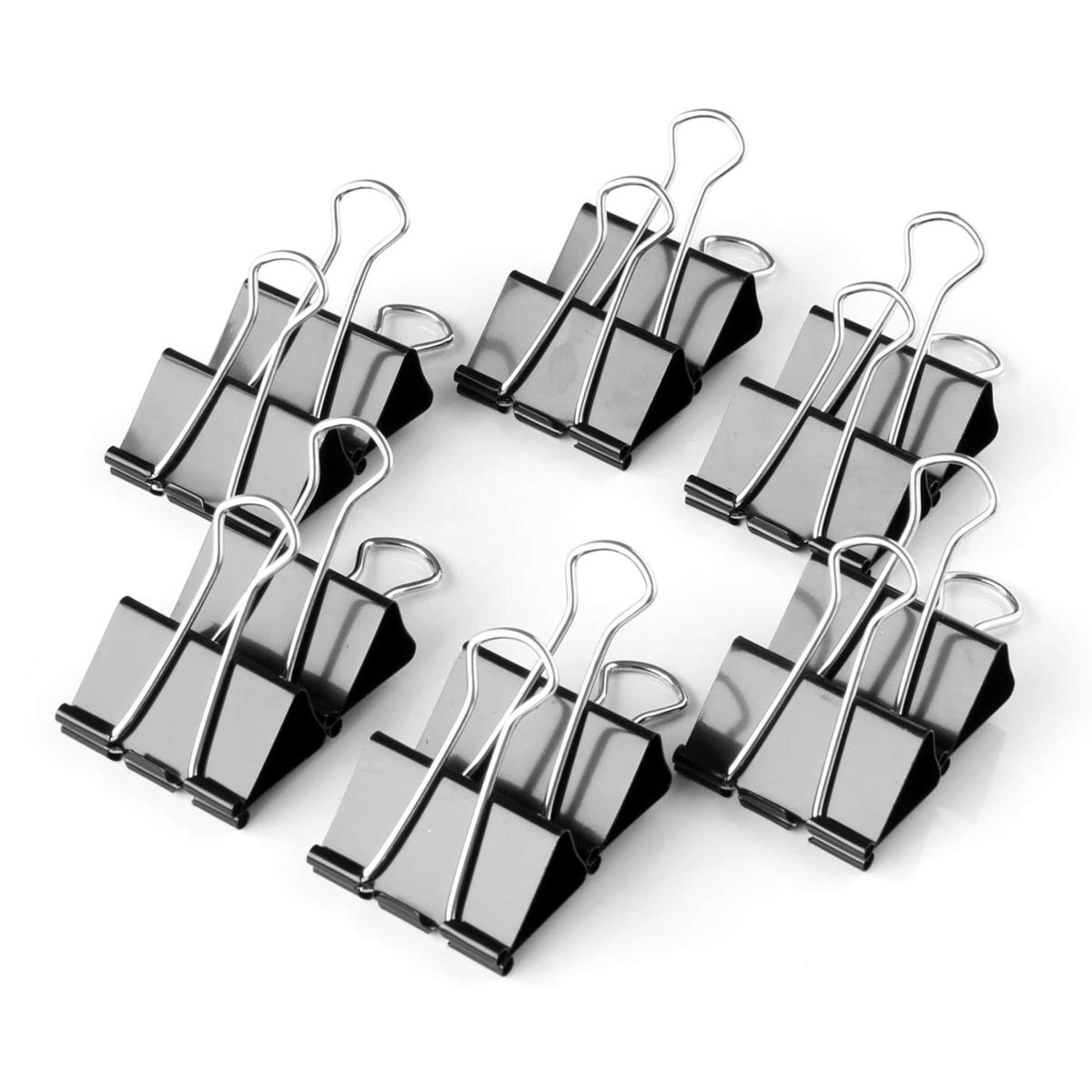 Essential Box of 12 Black Binder Clips - 51mm