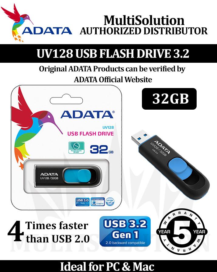 Adata 32gb Usb Flash Drive Uv128 Black - 5 Years Warranty