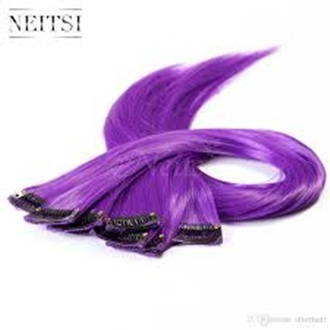 20inch Long Straight Synthetic Clip Extension- Purple