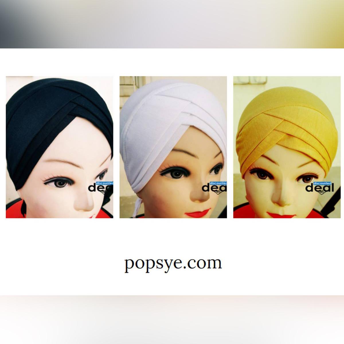 pack of 3 criss cross Plain Tube Muslim Headscarf Inner Hijab Caps Wraps Women Islamic Under Scarf Ninja Scarf Ramadan Stretch Cotton Bonnet Caps