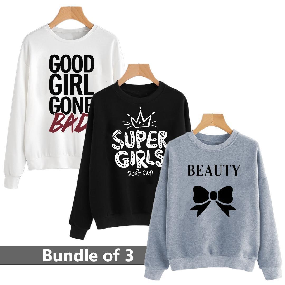 Pack Of 3 Printed Sweatshirt For Girls & Women