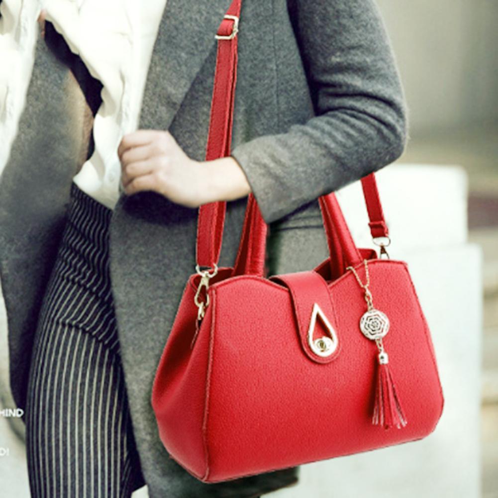 67cfc89b39a9 Elegant Women PU Leather Handbag Ladies Tassel Pure Shoulder Messenger Tote