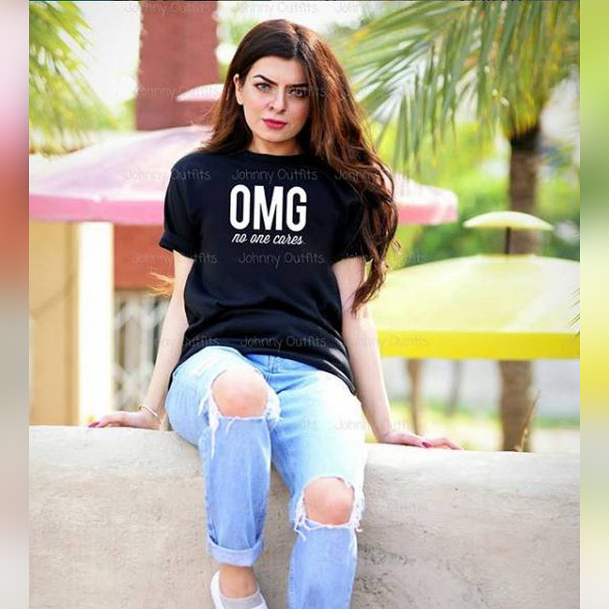 No body cares Black Half Sleeve Printed T-shirt For Women Casual Cotton tshirts For Lady Top Tee -11192019