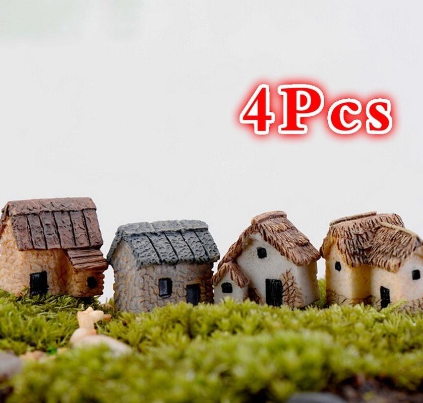 4Pcs Mini House Miniature Figurine Fairy Garden Accessory Home Decoration Cartoon Animal Building Statue Resin Craft Doll Car