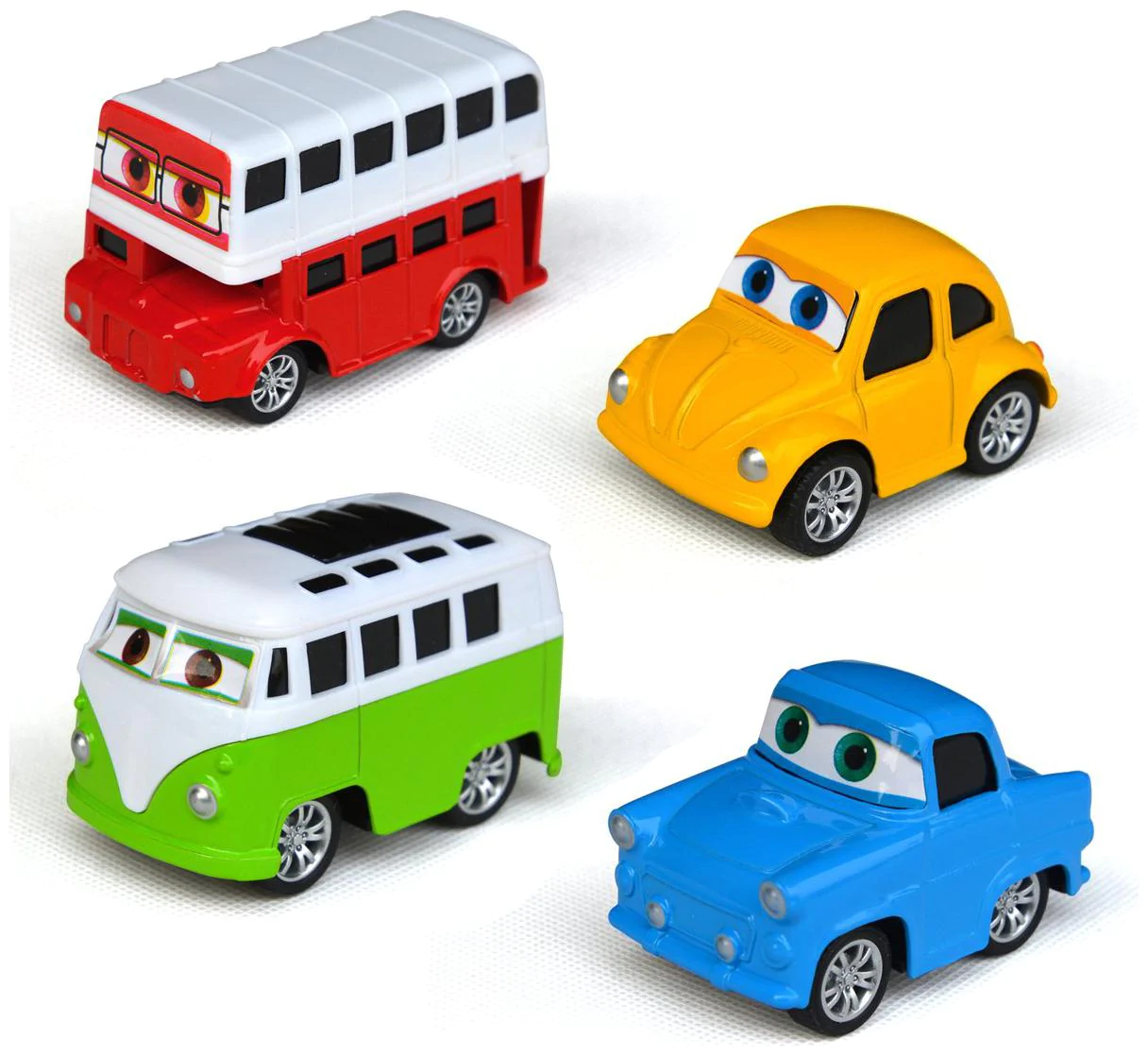 Pack of 4 Pcs Set - Cartoon Pull Back Metal Die Cast Vehicle Set Car, Bus, Foxy, Van Toys For Kids and Boys - Pullback Diecast