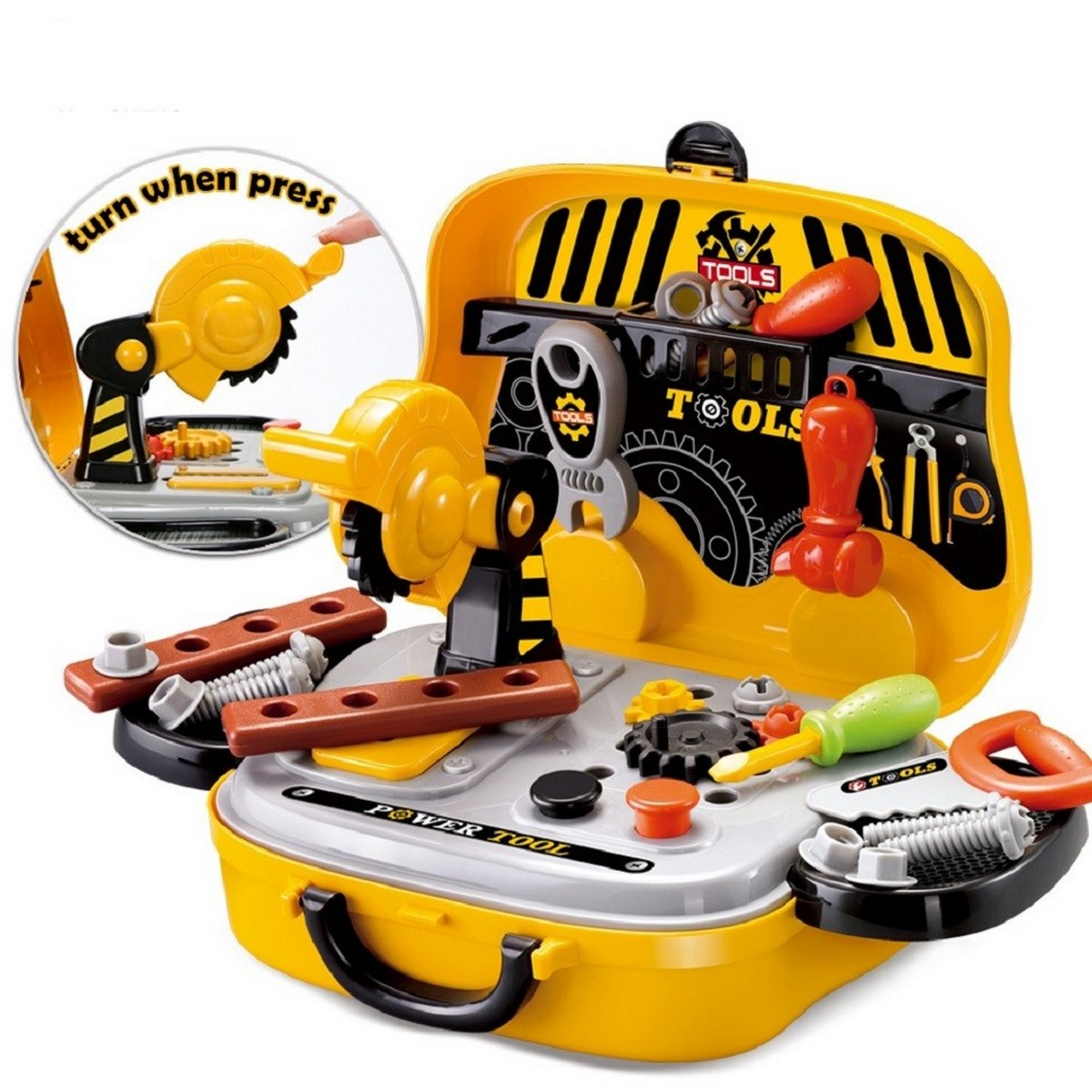 Engineer Construction Tool Suitcase Chainsaw Screws Hammer Kids Garden Tool Toy Set