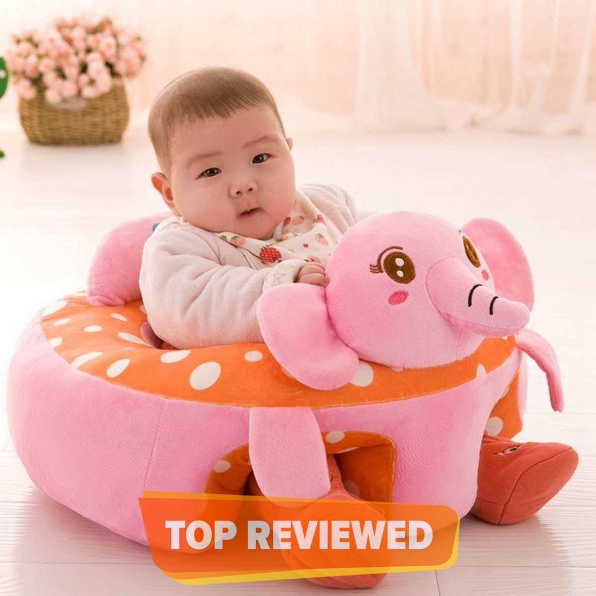Baby Pink Elephant Seats Sofa Plush Support Seat Learning To Sit Baby Plush Toys