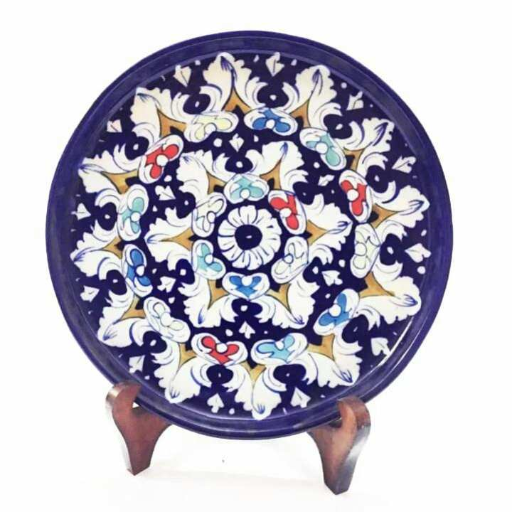 Blue pottery Pizza / Cake Plate Hand Made , Hand printed , Diameter: 12 inches