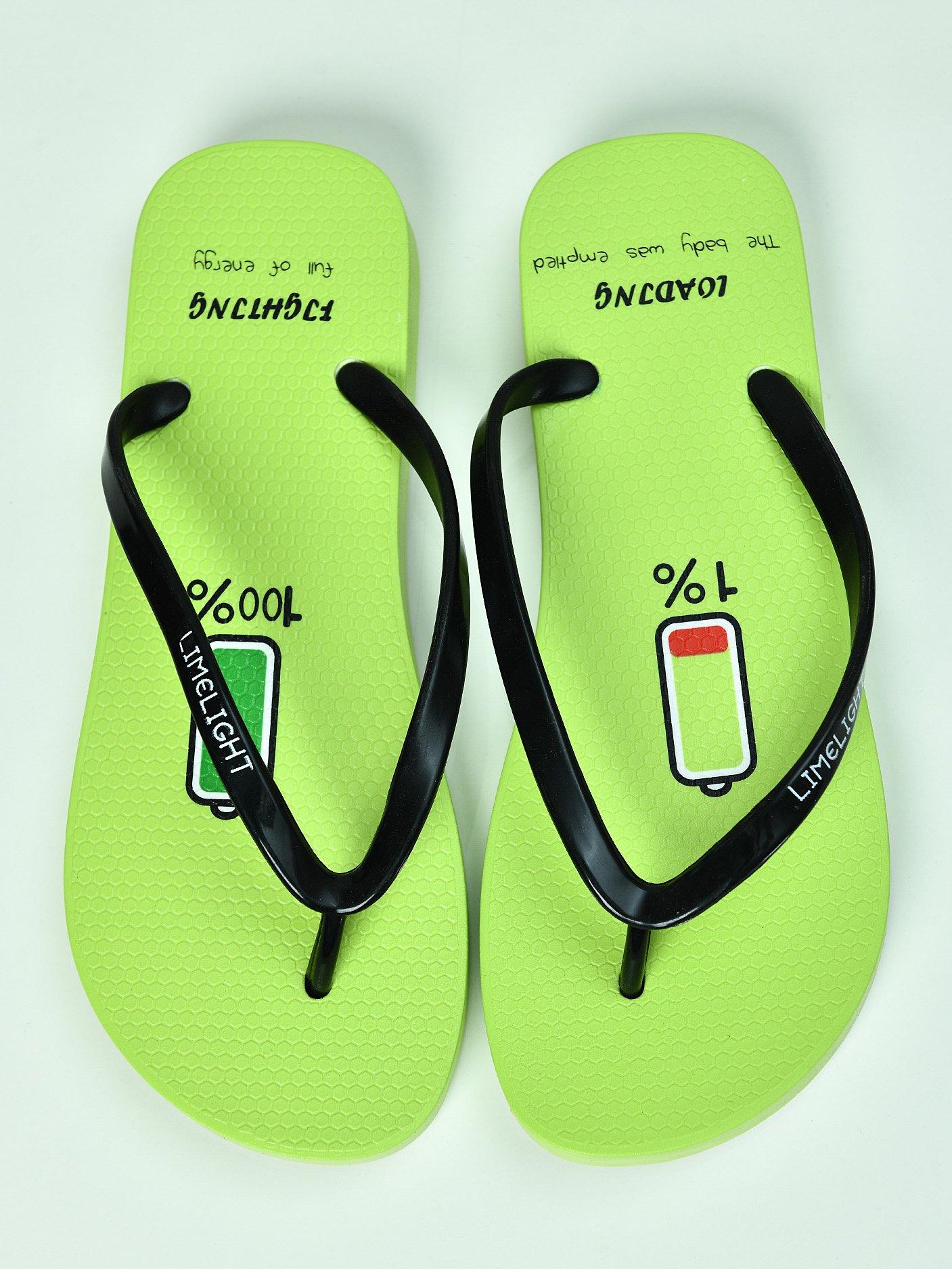 LimeLight Shoes Loading Printed Filp Flops For Women I1216FP-036-GRN