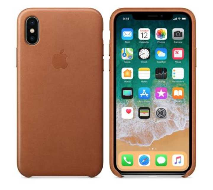 """SADDLE BROWN Apple 100% ORIGINAL Natural Leather Case for iPhone X 5.8"""""""