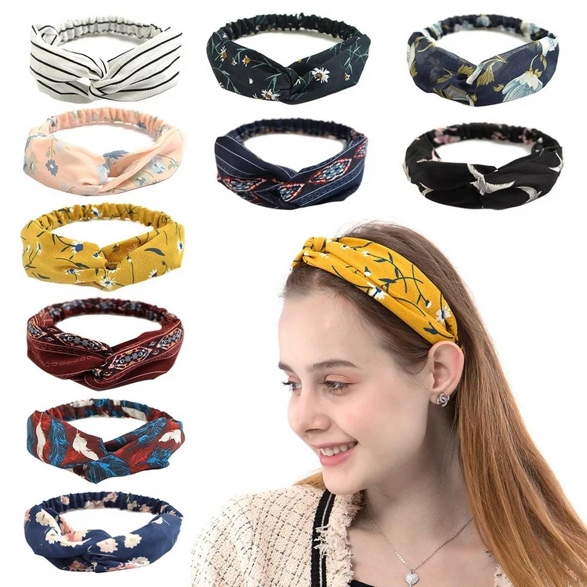 Pack of 2 2021 NEW Hair Accessories for Women Girls Hair Bands Print Headbands Vintage Cross Turban Scarf Bandage