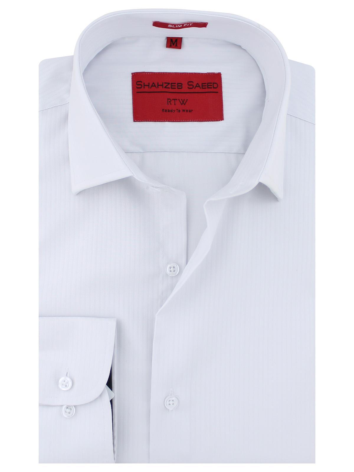 Shahzeb Saeed White Self Fabric Slim Fit Formal Shirt For Men