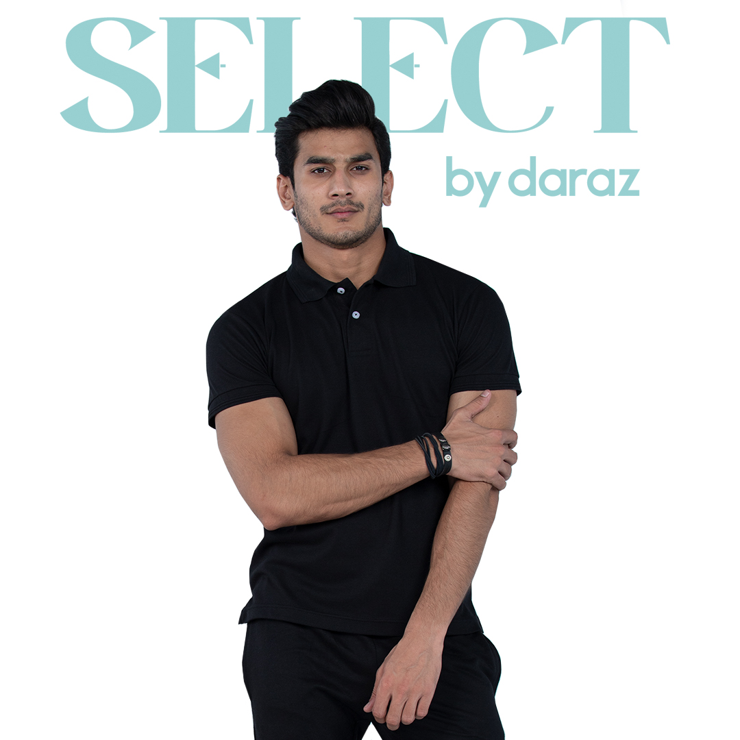 Select by  Basic Polo Shirt For Men - Black