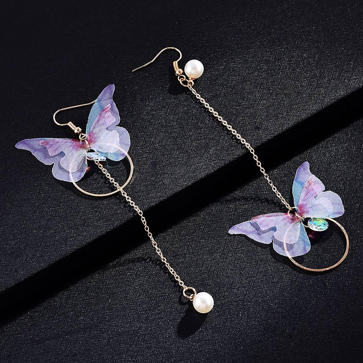 IK Fashion  - Asymmetry Butterfly Pearl Earrings for Women Long Bow-knot Circle Bead Tassel Bohemian Earring Female Fashion Jewelry Lady Gift