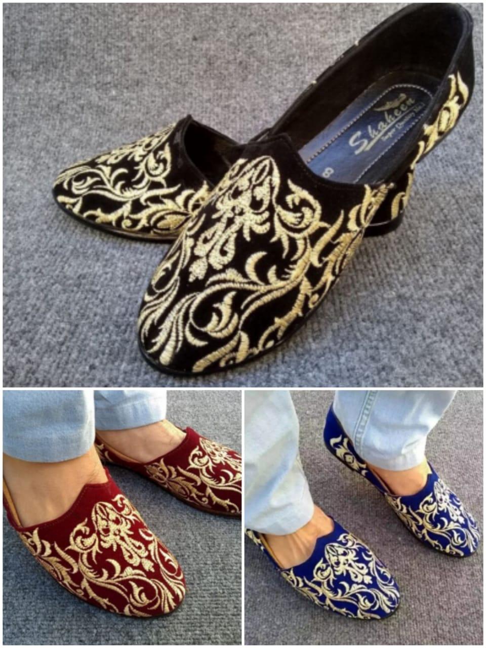 Black Blue & Maroon Arabic Shoes For Men