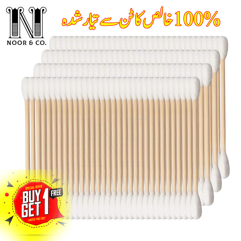 Cotton buds for Baby Cotton Swabs, 100% Organic Cotton Double-Tipped, Organic Bamboo Sticks, 200 Count Package