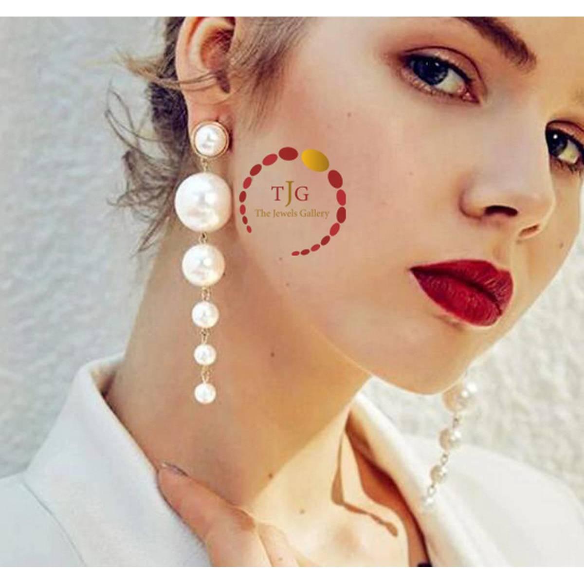Big Simulated Pearl Long Dangle Drop Earrings for Women - Imported Earings Fashion Jewellery