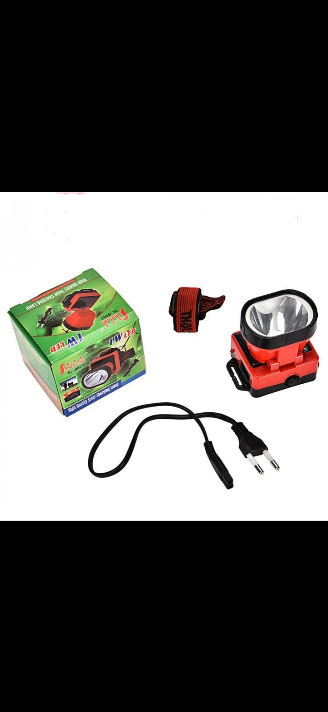 1W solar headlamp 400mah rechargeable battery headlight with AC cable and indictor light