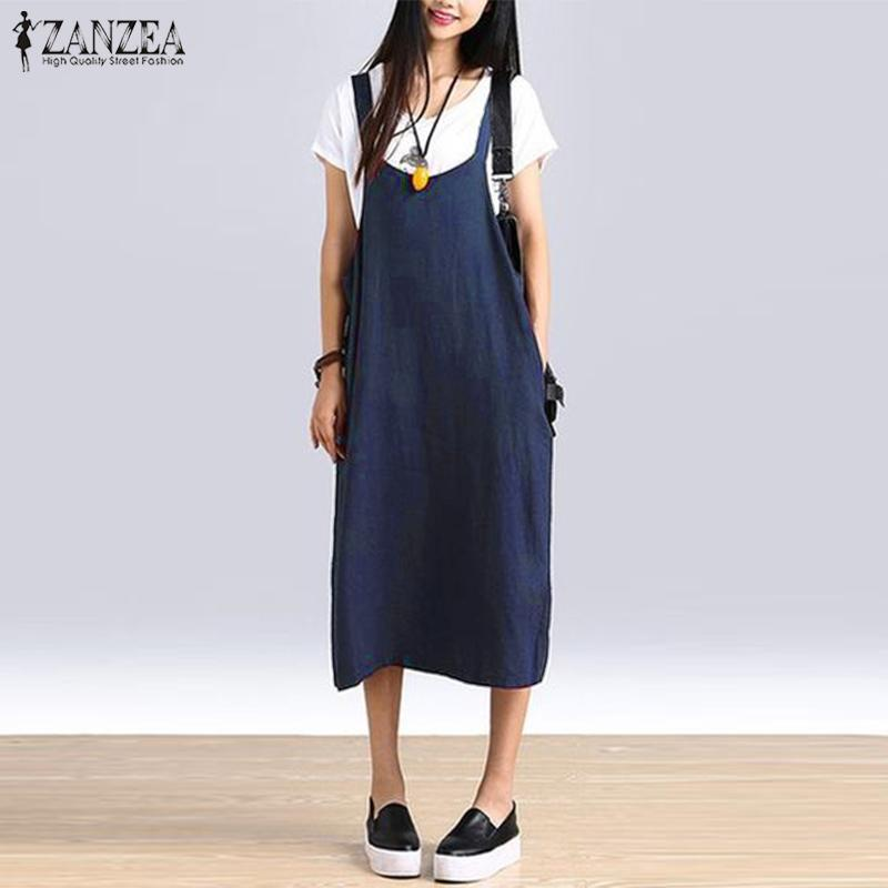 d88ba5ad82 ZANZEA Womens Summer Sleeveless Strappy Baggy Cotton Shirt Dress Dungarees  Plus Size