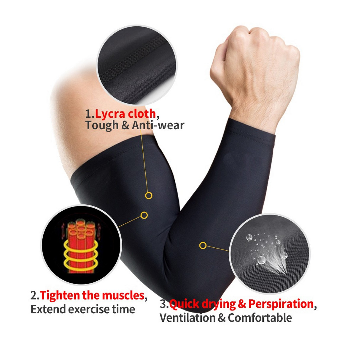Pair of Arms Muffs Protects from Sunlight Germs Dust Useful for Golf Cyclin Sports and Gym Exercise Arm Sleeves for Men Sports Sleeves For Sun Protection or Cooling Compression in Black and White (Pack of 1 Pair, 2 Pcs, Free Size)