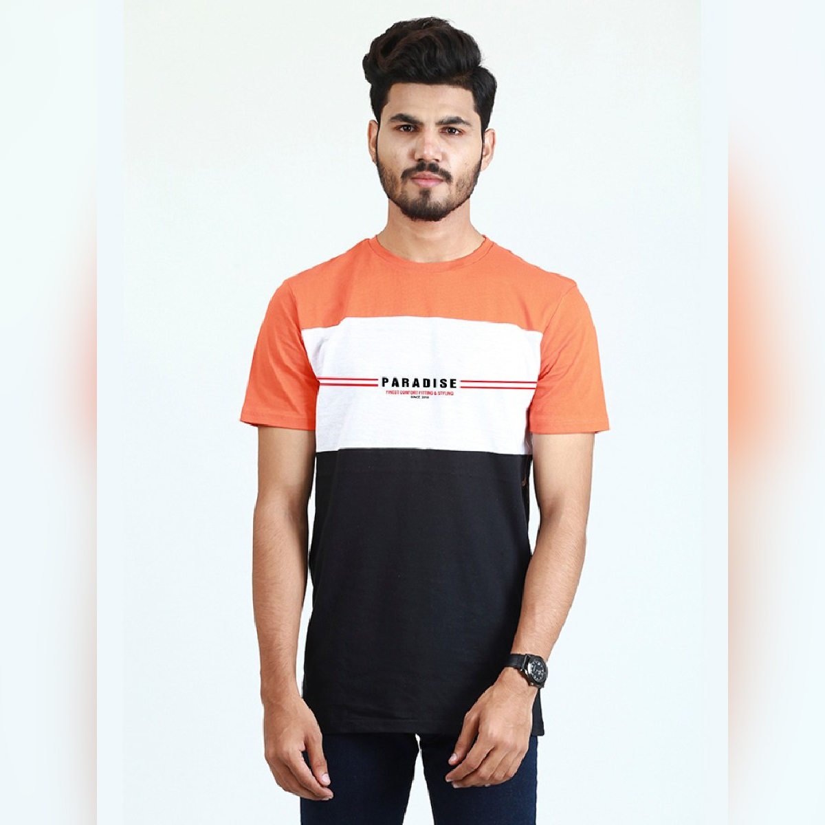 Short Sleeves 3 Panel Contrast Tshirts For Men