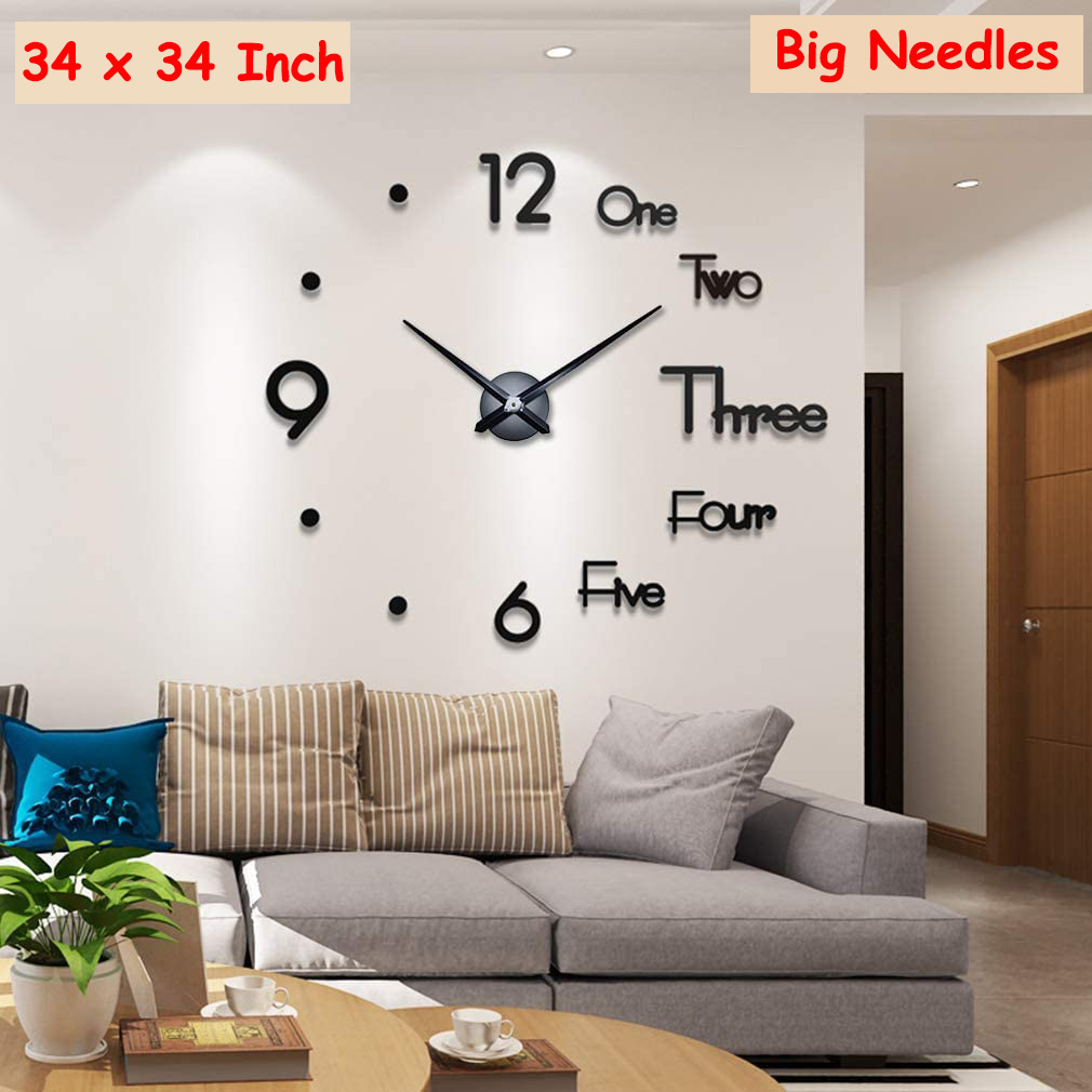 Large 3d Acrylic wall clock - decorative wall clock for home decor and office decor - large frameless wall clock - diy 3d wall clock - size 34 inches