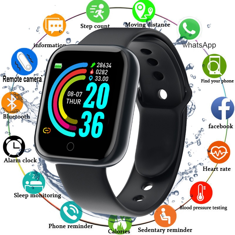 D20 Smart Sports Watch Apple Look Call Msg WhatsApp Notifier Complete Health Fitness Tracker Bluetooth Connectivity Android & iOS Both