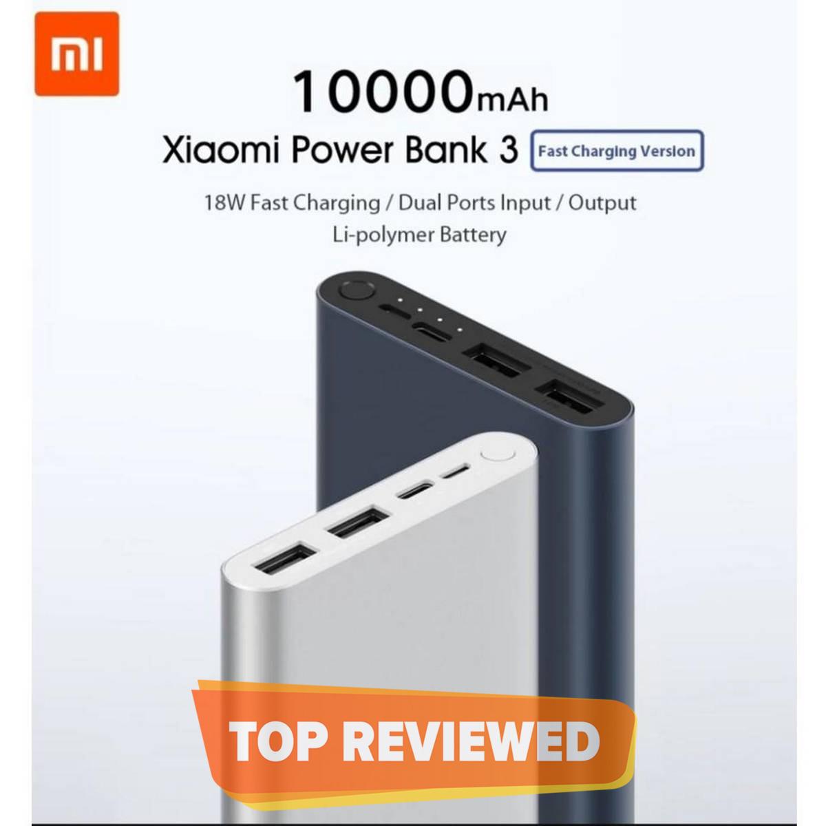 Mi POWER BANK 3 10000 mah WITH 2 INPUT AND 2 OUTPUT QC3.0 (FAST CHARGING) - MI XIAOMI ORIGINAL