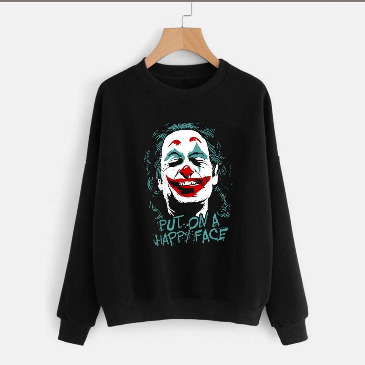 Joker Happy Face Printed Sweatshirt for Men