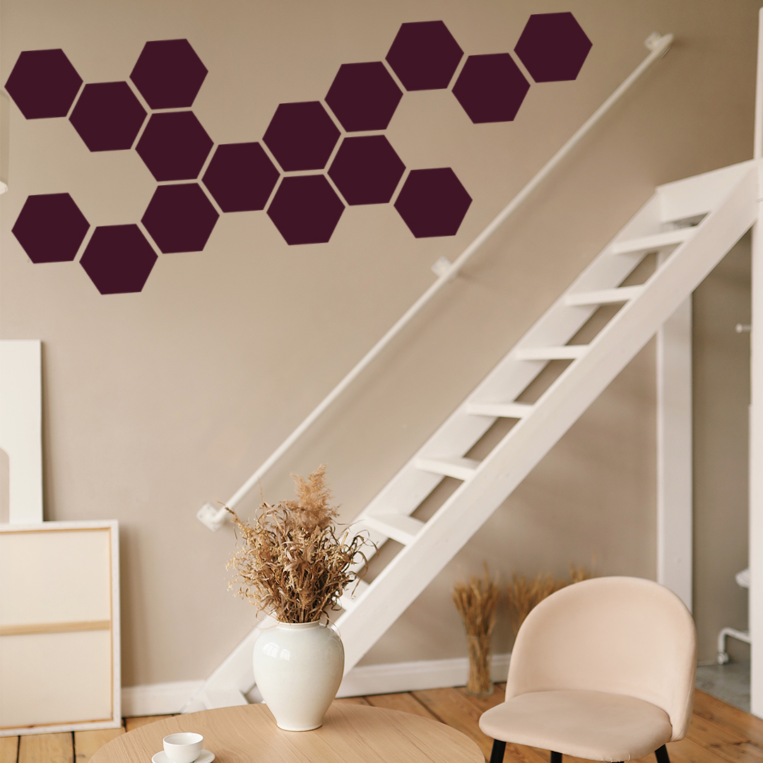 Hexagon Honeycomb Tile Stickers 12 pieces Peel and Stick Adhesive for Home Decor Art and Craft - Size 5 in by 4.2 in Colour Black