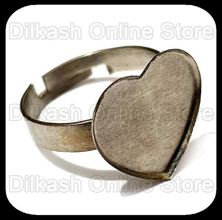 7 Pieces - Jewelry Rings Base – Half Inch Heart Ring Base with Border – Silver