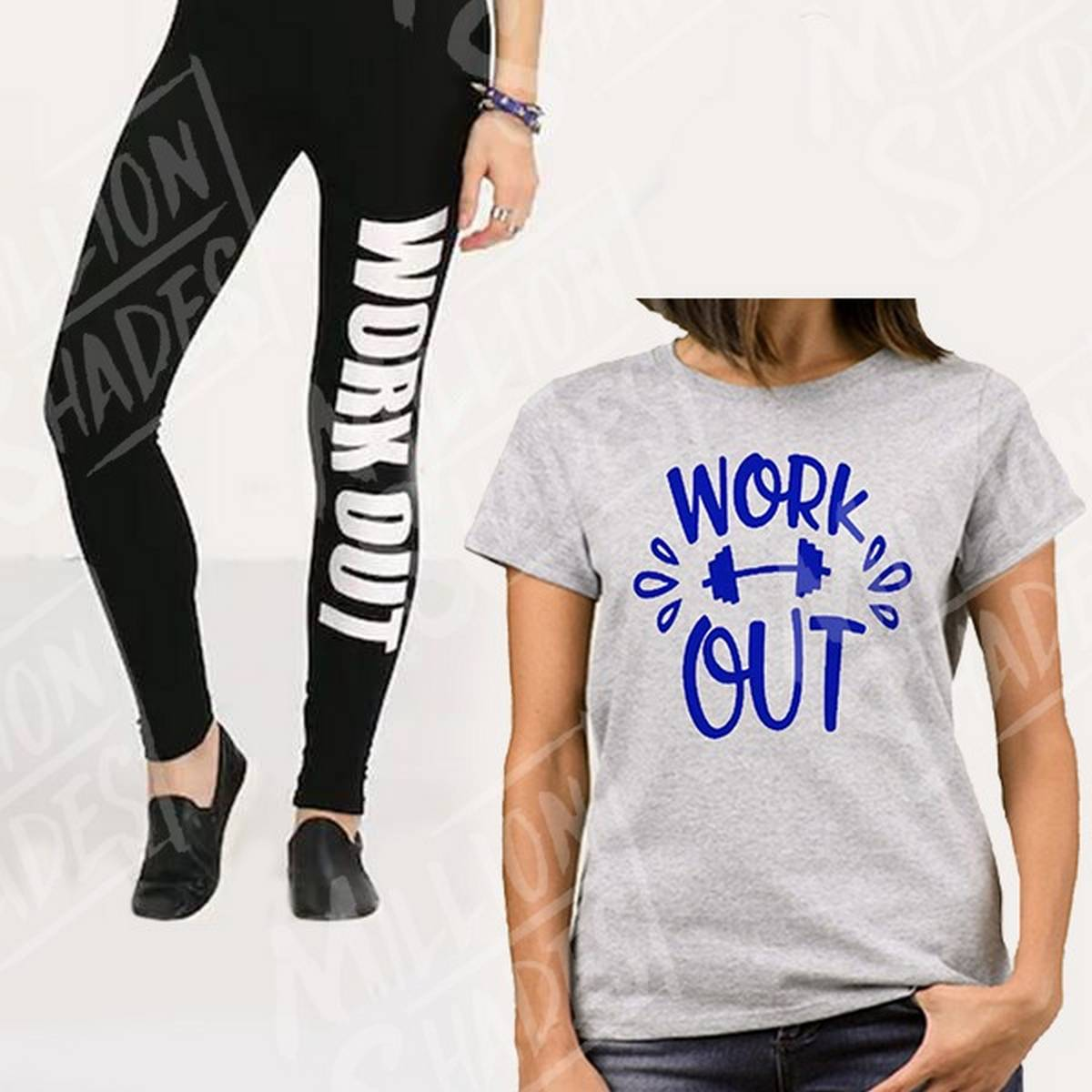 Grey & Black Work out Printed Gym Suit For Girls Women