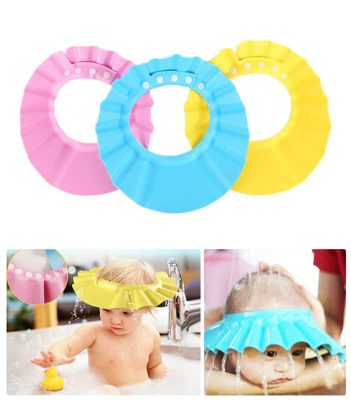 Baby Shampoo Waterproof Shield Shower Bath Kids Child Care Adjustable Soft Hat Cap Wash Hair Ear Protection Eye Children Infant