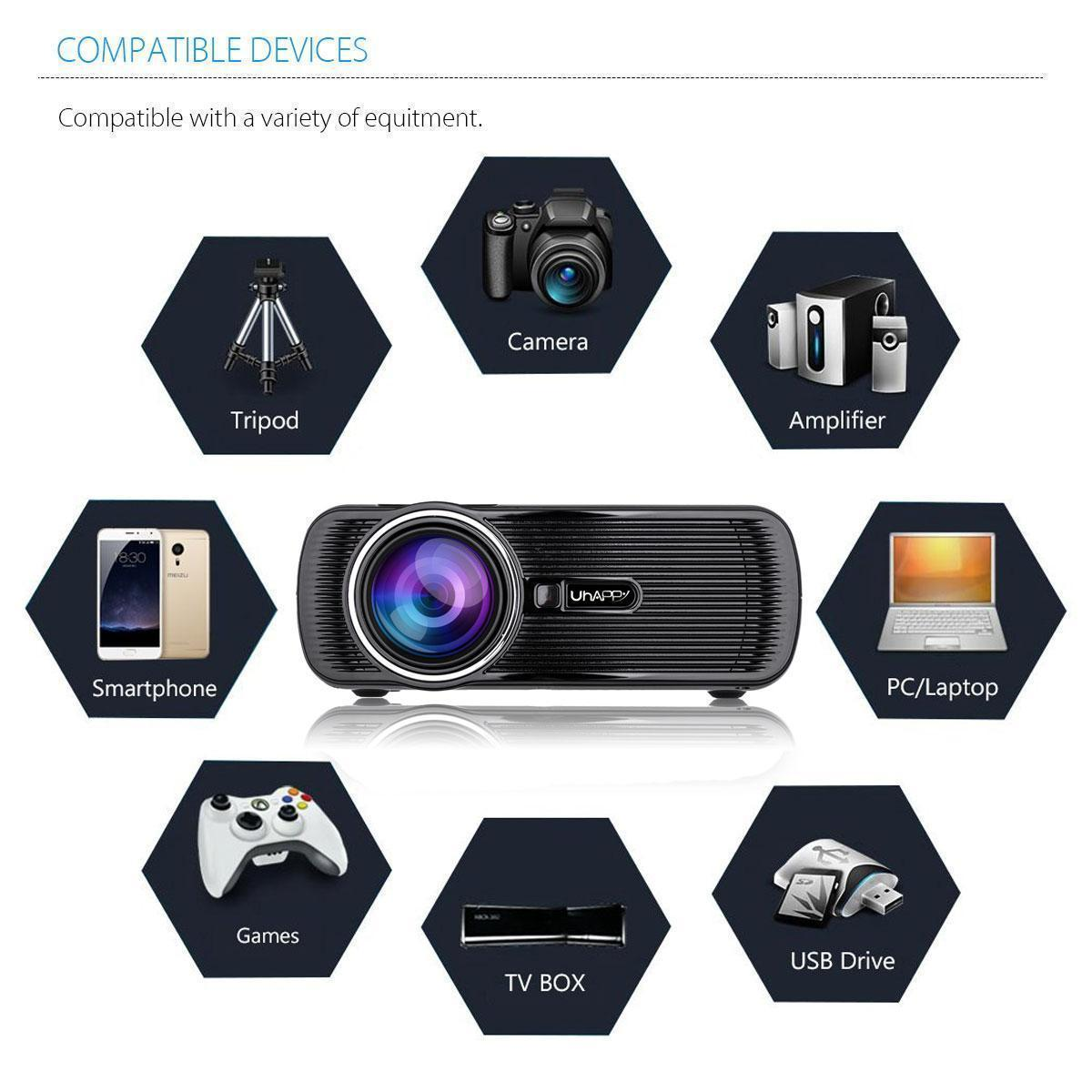 Business 1080P HD 3000 Lumens LCD Projector Home Theater Cinema  HDMI/USB/VGA/SD
