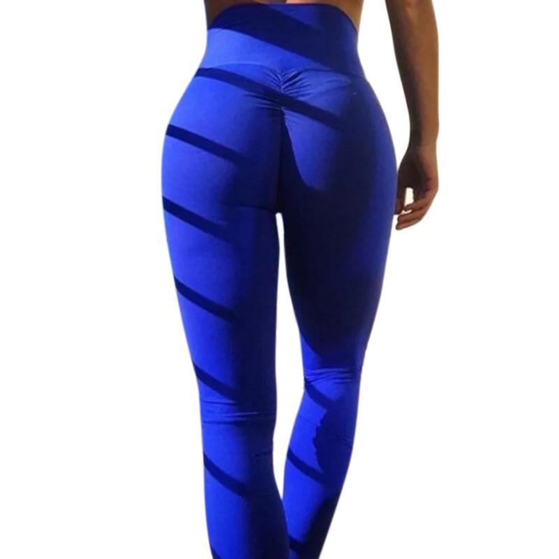 d6d55b304d0 Women Solid Color Yoga Pants Casual Sports High Waist Gym Leggings Pa