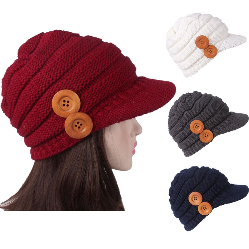 68af7215c Women Ladies Winter Knitting Hat Berets Turban Brim Hat Cap Pile Cap